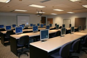 computer room with rows of chairs