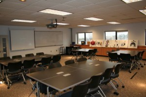 classroom with moveable chairs and tables