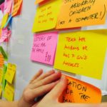 Post-It notes featuring ideas on board.